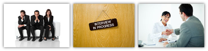 Interview waiting room-interview in progress-interview completed